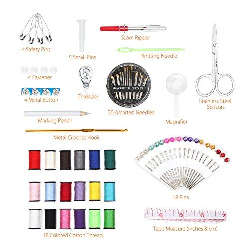 Kit de Costura Qisiewell Costurero 80pcs Accesorios Costura Kit de Accesorios para el viajes y hogar y emergencias
