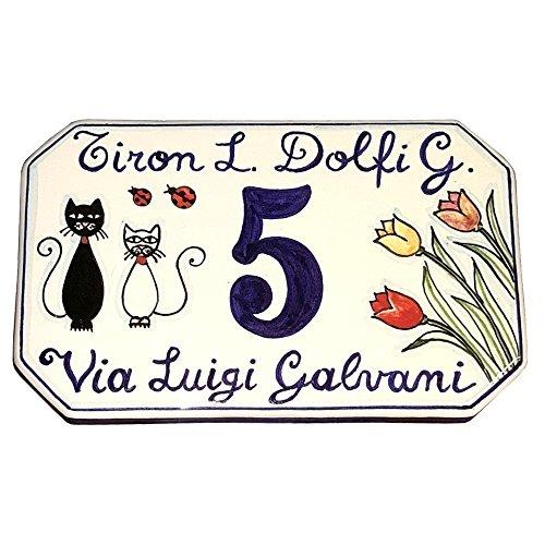 CERAMICHE D\'ARTE PARRINI- Künstlerische italienische Keramik, Hausnummer 20x13 individuelle Dekoration Katzen, Fliesen handgemacht in Italien Toscana