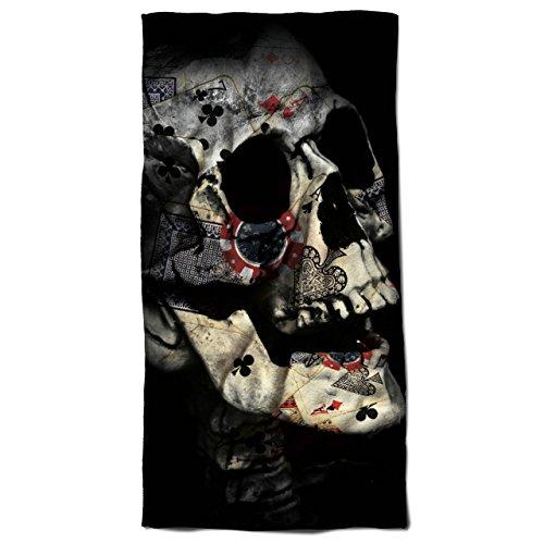 Poker Karte Skelett Schädel indisch Kult 30cm x 60cm Badetuch | (Filme Besten Kult Halloween)
