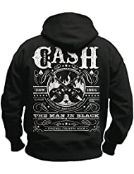 JOHNNY CASH - WHISKEY LABEL NASHVILLE TENNESEE NEU - Schwarz - Jacke Sweatshirt mit Kapuze -