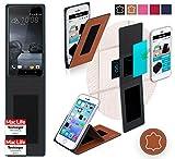 reboon HTC One X9 Hülle Tasche Cover Case Bumper | Braun Leder | Testsieger