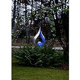 Kamaca LED SOLAR Hänger Amber Wegeleuchte Gartenleuchte mit 1 Blauer LED mit SOLARPANEL Outdoor (Flamme HÄNGEND - BLAU)