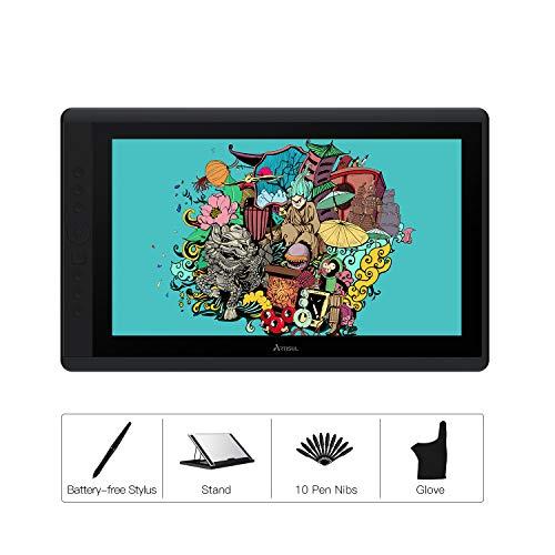 ARTISUL D16-Grafiktablett 15,6-Zoll-Grafiktablett mit Bildschirm 1920 * 1080 FHD-Zeichnungsmonitor Batterieloser Stift mit 8192 Stiftdruckstufen 7 Tastenkombinationen - Version 2019