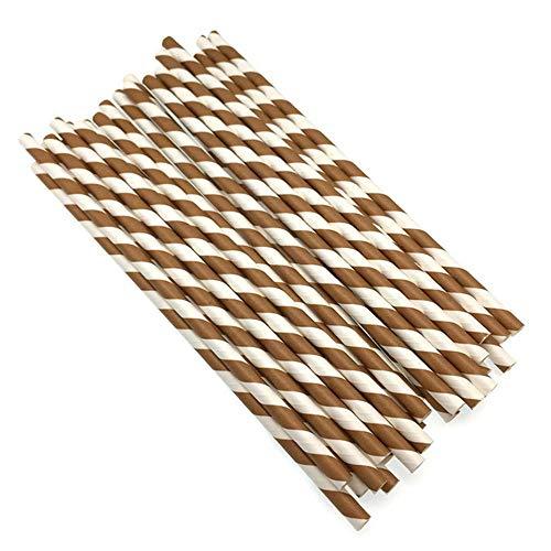 FOONEE Papierstrohe, Wegwerfbare Biologisch Abbaubare Gestreifte Papiertrinkhalme, Umweltfreundliche Strohe für Säfte, Erschütterungen, Smoothies, Partei Liefert Dekorationen