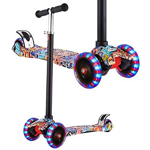 WeSkate Scooter für Kinder Kinderroller mit 3 LED Rädern und Höhenverstellbarer T-Griff, Kinder ab 3 max. 50kg