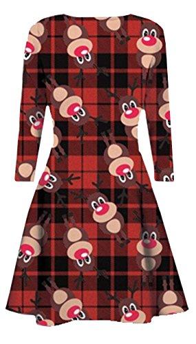 Fast Fashion - Swing Robe Rennes Bonhomme Santa De Tartan - Femmes Vin