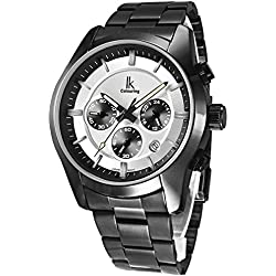 Alienwork Quartz Watch Multi-function Wristwatch vintage sport Metal white black K008GA-06
