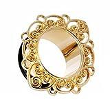 eeddoo Gold Steel - Tunnel - Ornament 8 mm (Piercing Flesh Tunnel Ohr Plug für gedehnte Ohren Lobes Tubes)