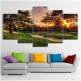 Modulaire Photos Wall Art Toile HD Prints Affiche 5 Pièces Parcours de Golf Arbres Coucher Du Soleil Paysage Peinture Home Decor Room-30x50 30x70 30x80cm-Pas de cadre...