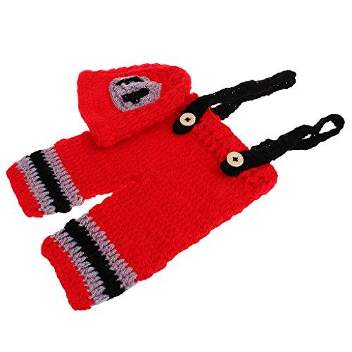 MagiDeal 1 Set Feuerwehrmänner baby Fotografie Kleidung Fotoshooting Neugeborene Baby Kostüm Babykleidung Foto Props Requisiten (Kostüme Baby Feuerwehrmann)
