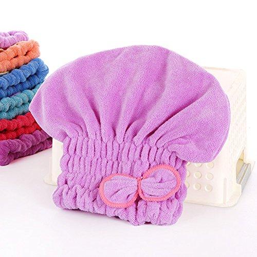 Happyit Ultrafeine Faser Fliege Weiches Haar Trocknen Kappe Hut Handtuch Super Magie Absorbieren für Frauen Mädchen Dame Bad Dusche (Helles Lila)