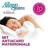 Allergosystem Set Antiacaro Sogno Composto da coprimaterasso con Cerniera per Letto Matrimoniale, 170x200x20cm e 2 copricuscino, 50x80cm, Polyester