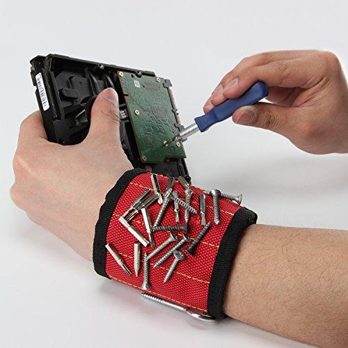ANPHSIN Magnetisches Armband eingebettet mit 5 super leistungsstarken Magneten – Magnetisches Armband-Armband für die Befestigung von Schrauben, Nägeln, Scheren und kleinen Werkzeugen - 3