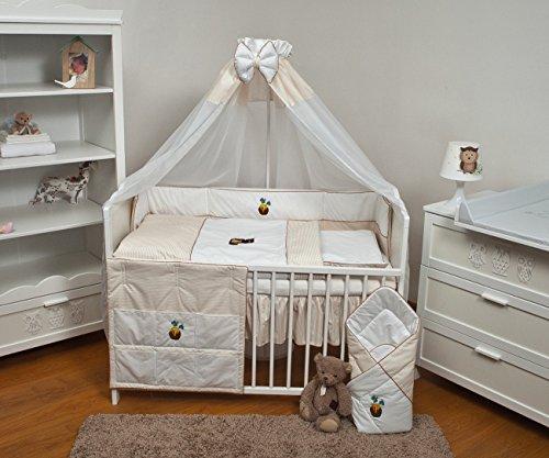 Velinda 11-tlg. Baby-Bettwäsche-Set mit Stickerei Bettzeug Bettbezug für Babybett 120x60 (Muster: Honig) (Bettbezug Honig)