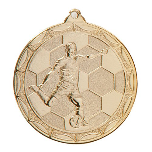 Moulded Football Figure Player Medal and Ribbon Gold