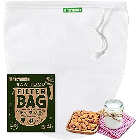 BOLSA DE LECHE VEGETAL - NECTARBAR (Eco) RAW FOOD FILTER BAG - Malla fina para LECHE DE NUECES, leche de almendras, leche de granos, para fermenter queso vegano, para zumo, jugo, horchata, brotes, germinados de nueces y semillas, para lavar arroz y quinoa, filtrar kéfir, bolsa colador para café en frío (cold brew coffee), BOLSA DE FILTRO DELUXE, utensilio práctico para la cocina cruda y vegana
