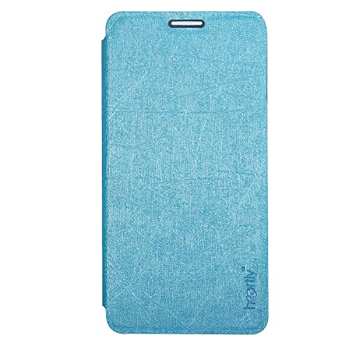Heartly Premium Luxury PU Leather Flip Stand Back Case Cover For Alcatel One Touch Idol X Plus X+ 6043D – Power Blue