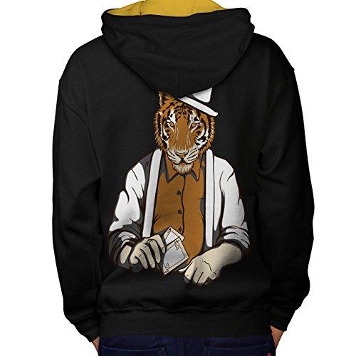 Tiger Poker Cool Gangster Groß Katze Maske Men M Kontrast Kapuzenpullover Zurück | Wellcoda (Narco Kostüm)