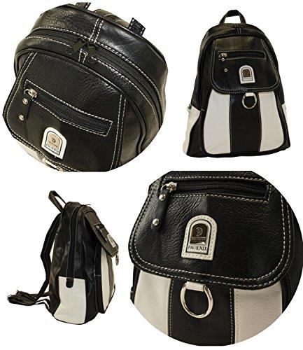 Phoenix Cityrucksack Rucksackhandtasche Stadtrucksack Rucksack Kunstleder Tasche CR01 (25 - Schwarz-Grau) 951 - Schwarz-Weiss