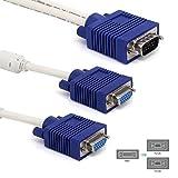 Igreely Premium VGA 15broches One 1mâle vers 2femelle double Y Splitter SVGA VGA câble fil cordon Bleu de connecteurs pour TV ordinateur Vidéoprojecteur