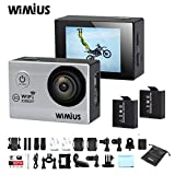 """Wimius Action Cam WiFi 1080P 2.0"""" Full HD 12MP 170°Obiettivo Grandangolare Impermeabile Fotocamera Videocamera+ 2 Batterie ed accessoristica varia Helmetcam Bicicletta Subacquea Q2 (Bianco)"""