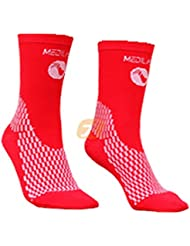 Medilast D208RB - Calcetines cortos de ciclismo unisex, color rojo, talla M