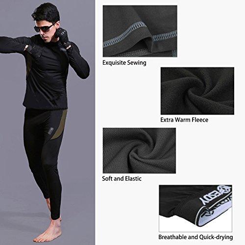 UNIQUEBELLA Herren Winter Suit Ski Thermo-Unterwäsche Set Thermowäsche langarm Unterhemd + Thermo lange Unterhose - 4