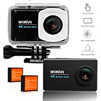 WIMIUS Action Camera 4k 2.45inch LCD Touch Screen Underwater Sports Cam 1080P 16MP Helmet Camera 170 Ultra Wide-Angle Lens with Accessories Kit Black L3