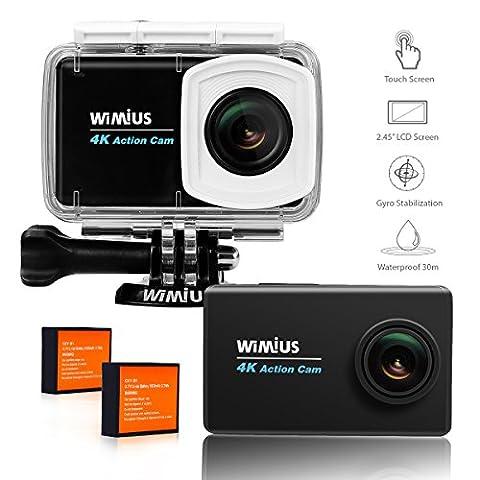 Action-Kamera, WiMiUS L3 Action Cam 4K Aktionkameras mit 2.45'' LCD Touch Screen HD Actioncam WIFI Wasserdicht Helmkamera Motorrad mit 2 Akkus und Zubehör Kits(Schwarz)