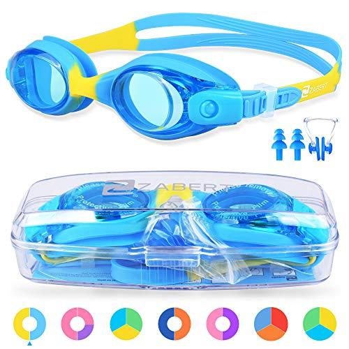 ZABERT Schwimmbrille für Kinder, K1 Schwimmbrillen Kinderschwimmbrille Chlorbrille für Jugendliche Kinder Kind Junior Jungen Mädchen 2 3 4 5 6 7 8 9 10 11 12 Jahre Blau Gelb