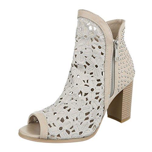 fb7426ebad02a8 High Heel Sandaletten Damenschuhe Plateau Pump High Heels Reißverschluss  Ital-Design Sandalen   Sandaletten Beige