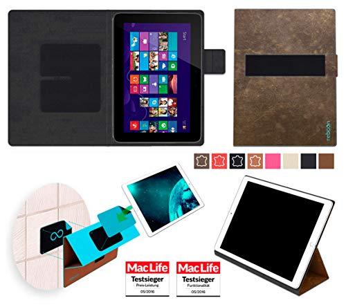 reboon Hülle für HP Omni 10 Tasche Cover Case Bumper | in Braun Wildleder | Testsieger