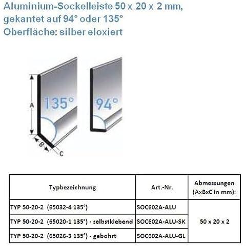 25 metros Rodapié / zócalo TYP 50-20-2 (Aluminio anodizado / plateado / 65032-4 135°)