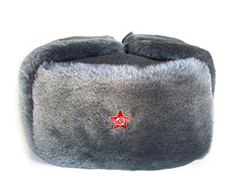 GFM FAUX FUR COSSACK SOVIET ARMY STYLE USHANKA (M 57 cm) (sm) Star