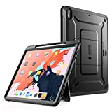 SupCase iPad Pro 12.9 Hülle Support Pencils Laden 360 Grad Case Bumper Schutzhülle Cover [Unicorn Beetle PRO] mit eingebautem Displayschutz und Ständer für iPad Pro 12.9 Zoll 2018 (Schwarz)