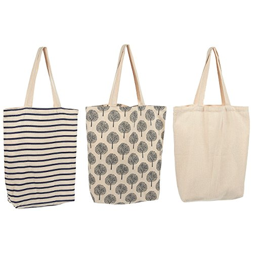 e5812b4e9216 3 Pack Reusable Shopper Bags - Heavy Duty Grocery Tote Bags with Handles -  Eco-