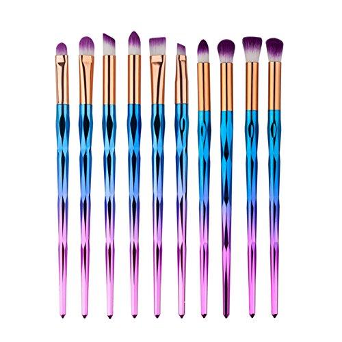 10 Stück Professionelle Bunte Lidschatten Pinsel Set Make Up Pinsel Augen Kosmetik Pinsel Essential...