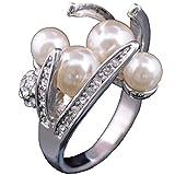 Claire Jin Modische Damen Ring Platin Überzug Weiße Runde Imitation Perlen Schmuck