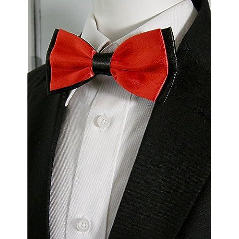 Los hombres Casual rojo liso Pre-atada regulables boda Pajarita mezcla de seda