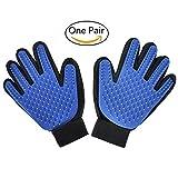 Freefa Fellpflege Handschuhe, Enthaarungskamm für Haustiere Katze Bürsten Handschuh Haarentfernung Pet Handschuhe Massage Bürste für Lange und Kurze Haare Hunde Katzen Kaninchen (Ein Paar), Blau