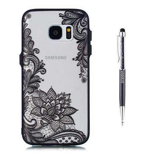 Grandoin Galaxy S7 Hülle, 2 in 1 Ultra Dünne Schale Luxus Ultra Dünn Weich TPU Bumper Case Silikon Schutzhülle Handy Tasche für Samsung Galaxy S7 (Schwarzer Lotus) (2 Samsung Für Handy Case)
