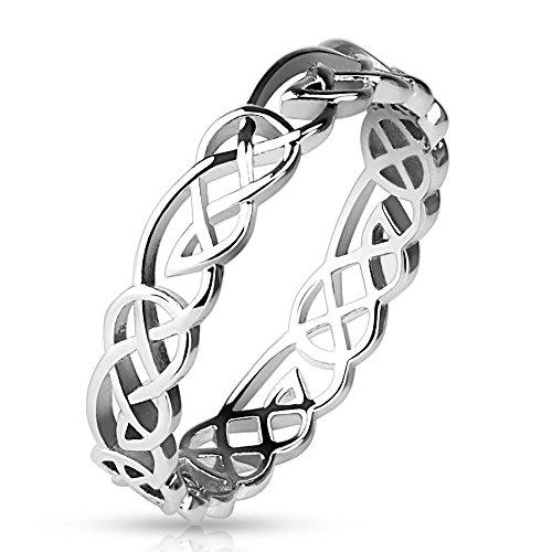 Bungsa 57 (18.1) Tribal Ring Damen Silber verknotet 49 52 54 57 60 (Frauen Fingerring Damenring Brass Rhodium Partnerringe Verlobungsringe Trauringe Designring)