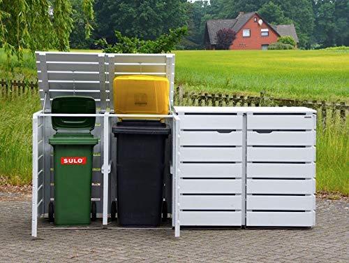4er Mülltonnenbox / Mülltonnenverkleidung 240 L Holz, Deckend Geölt Weiß - 5
