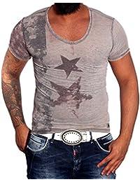 RUSTY NEAL Party Kurzarm Poloshirt Herren Sommer Print V-Neck T-Shirt RN-6706-Y