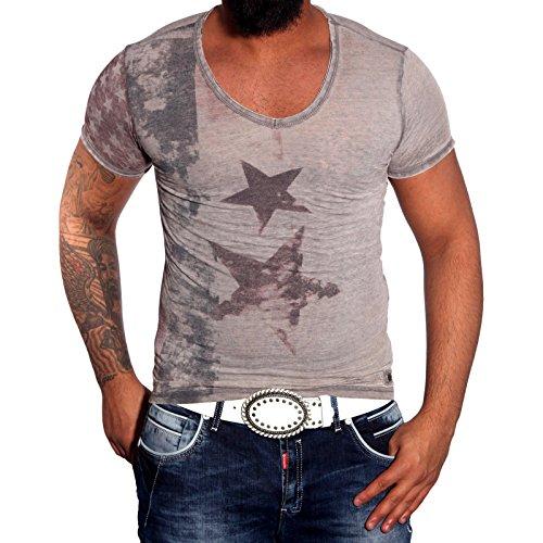 Rusty Neal Party polo da uomo estate Print T-Shirt con collo a V manica corta per 6706RN-Y Grigio