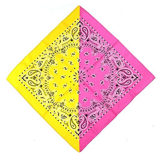 ruiruiNIE Bohemian Paisley Floral Double Color Block 50 x 50 cm Unisex Baumwolle Einstecktuch Schal Stirnband Bandana Hip-Hop-Armband Krawatte - 5# - Pink + Gelb -