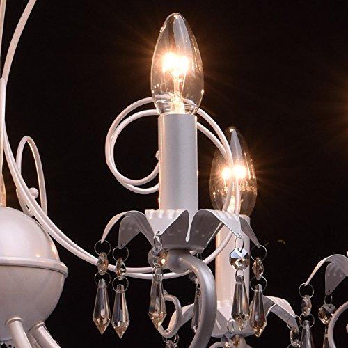Antiker Kronleuchter 7-armig perlweißes Metall Kerzen 90cm - 6