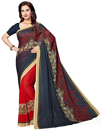 Ishin Faux Georgette Purple & Red Half & Half Printed Party Wear Wedding Wear Casual Wear Festive Wear Bollywood New Collection Latest Design Trendy Women's Saree/Sari  available at amazon for Rs.440