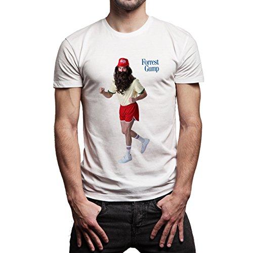 Running Forrest Gump Costume Beard Movie Background Herren T-Shirt Weiß