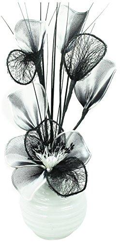 Flourish 813 - vaso con fiori finti in tessuto e fil di ferro, colore: bianco/nero/bianco